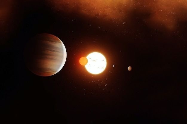 Jupiter against the background of the sun and planets.