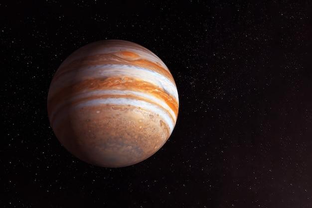 Планета юпитер на темном фоне снизу. элементы этого изображения предоставлены наса.