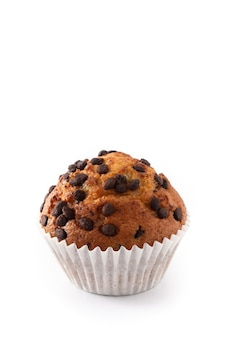 Just baked chocolate muffin isolated on white background