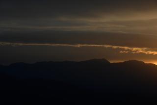 Just before sunrise over sequoia nationa