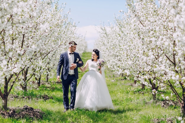 Just-married couple walking among the flowering trees