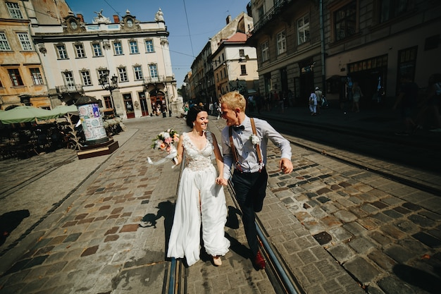 Just married running