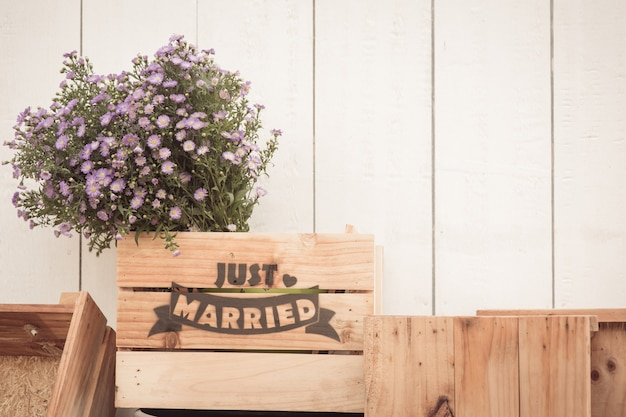 Just married sign on wood hand made for wedding decoration
