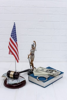 Justice concept of united states on light background