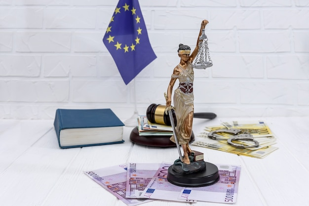 Justice in european union, judge's gavel and themis