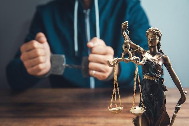 Леди правосудия и мужчина в наручниках на столе