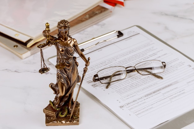 Justice statue with office workplace for lawyer legislation with gavel and document