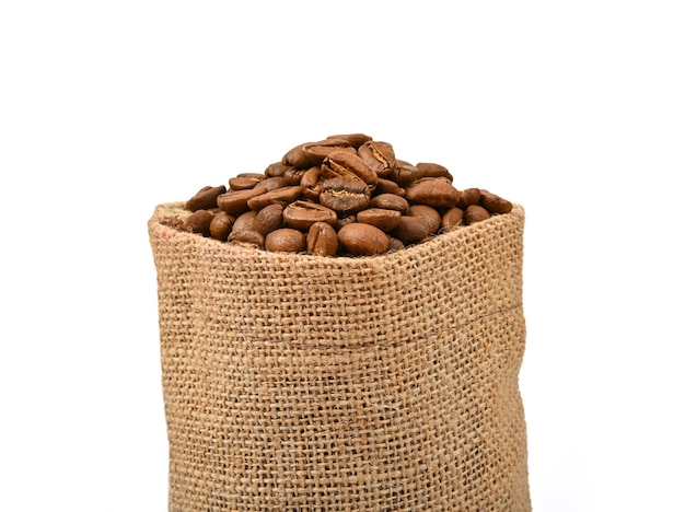 分離された焙煎コーヒー豆のジュートキャンバスバッグ