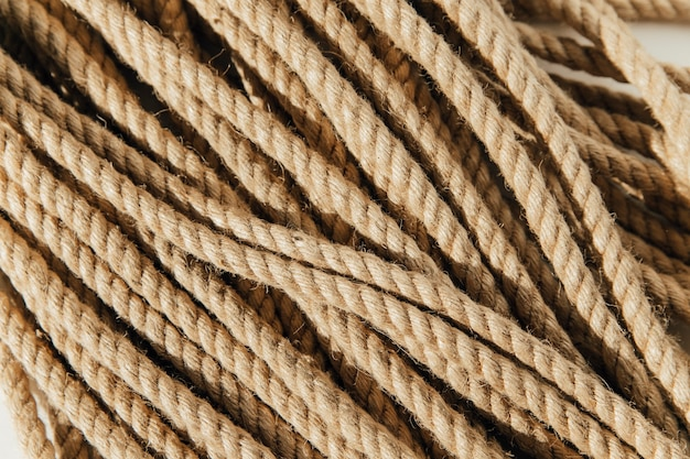 Jute rope on a white background