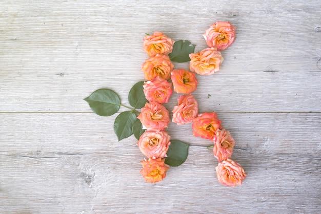 K、バラ花のアルファベットは、灰色の木製の背景に、平らなレイ