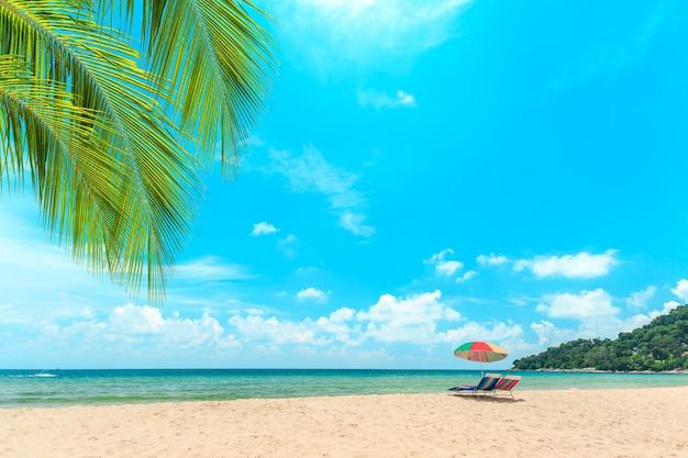 Ka-ron beach at phuket , thailand. white sand beach with beach umbrella. summer, travel, vacation an