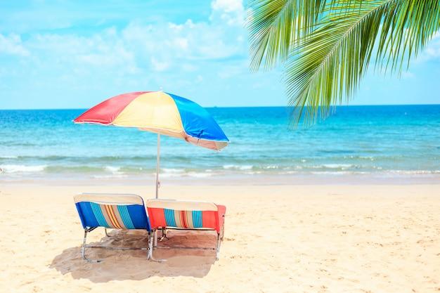 Ka-ron beach at phuket , thailand. white sand beach with beach umbrella.