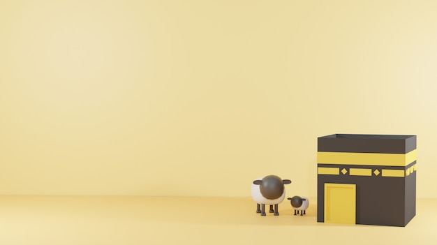 Здание кааба и овцы подходящие 3d рендеринг фона