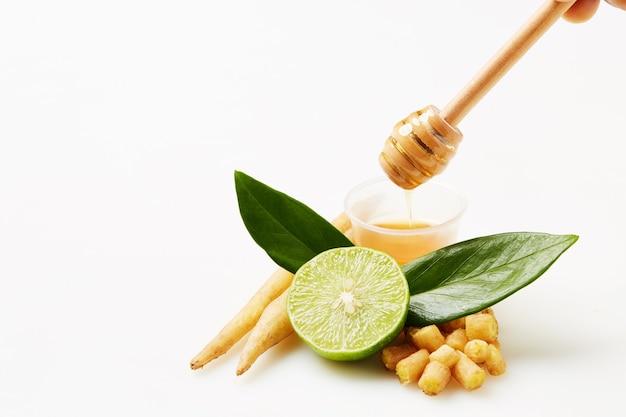 Kaempferia, honey and lemon herbs to prevent covid-19, isolated on white background