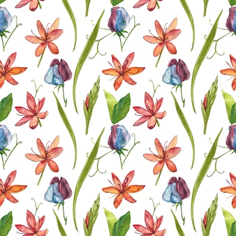 Kafir lilies flowers watercolor illustration. seamless patterns.