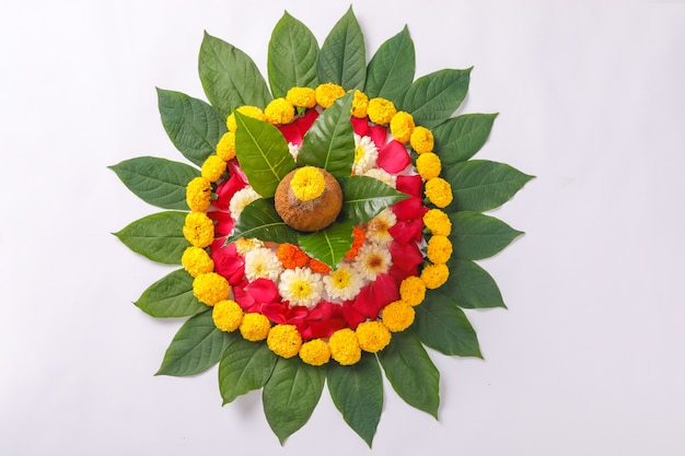 Kalash with coconut and floral decoration