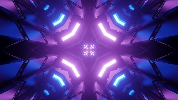 Kaleidoscope ornament with bright blue and purple futuristic neon lights reflecting in symmetric figures in 3d illustration