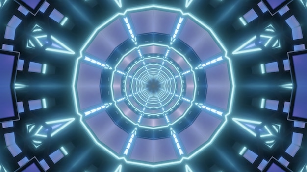 Kaleidoscopic 3d illustration of abstract background with blue neon lines forming round tunnel