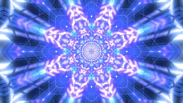 Kaleidoscopic 3d illustration of abstract background with bright snowflake shaped gem shining with blue color