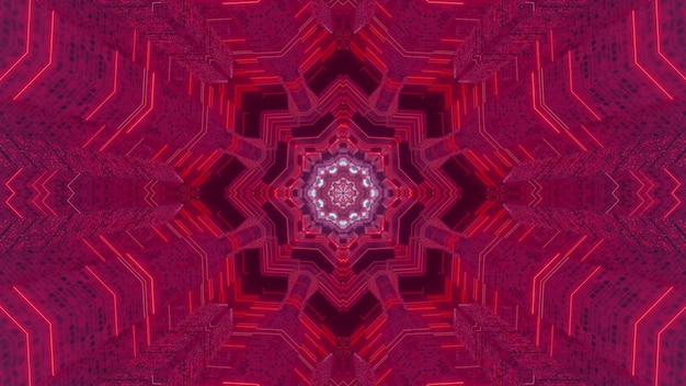 Kaleidoscopic 3d illustration of abstract background with symmetric ornament of vibrant pink color
