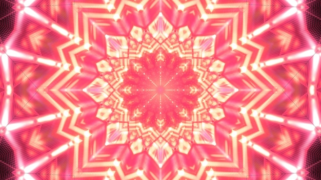 Kaleidoscopic 3d illustration of abstract background with symmetric red crystal glistening with red color