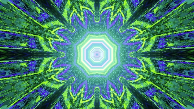 Kaleidoscopic 3d illustration abstract futuristic with geometric flower pattern in green and blue neon colors and light reflection effect