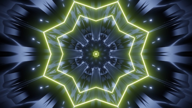 Kaleidoscopic 3d illustration of dark abstract background with bright star shaped ornament glowing with yellow neon light