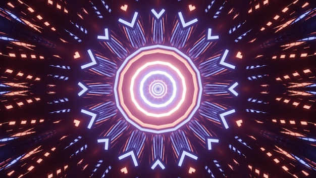 Kaleidoscopic 3d illustration of glowing circles and geometrical shapes forming perspective tunnel on black background