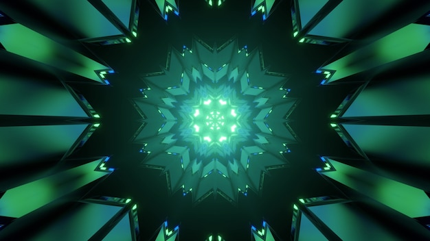 Kaleidoscopic 3d illustration of green poly angular pattern forming abstract spherical tunnel on black background