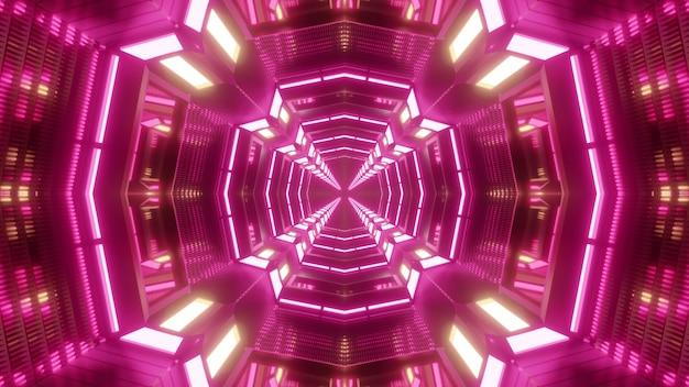 Калейдоскопическая трехмерная иллюстрация абстрактного туннеля в форме креста, освещенного яркими неоновыми лампами розового цвета