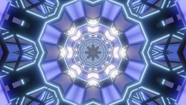 파란색으로 빛나는 패널이있는 둥근 기하학적 터널의 만화경 3d 일러스트