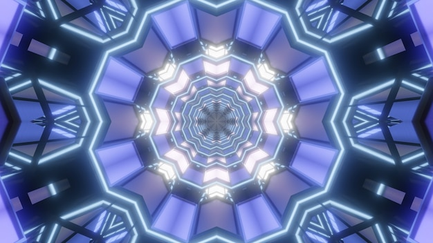 Kaleidoscopic 3d illustration of round geometric tunnel with panels shining with blue color