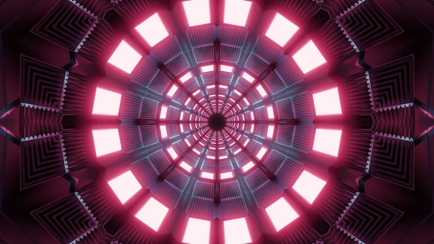 Kaleidoscopic 3d illustration of round symmetric tunnel illuminated with bright lamps of pink color