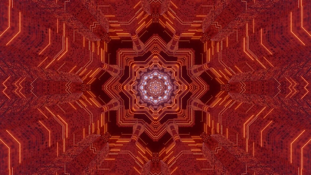 Kaleidoscopic 3d illustration of symmetric abstract background with fractal ornament of bright red color