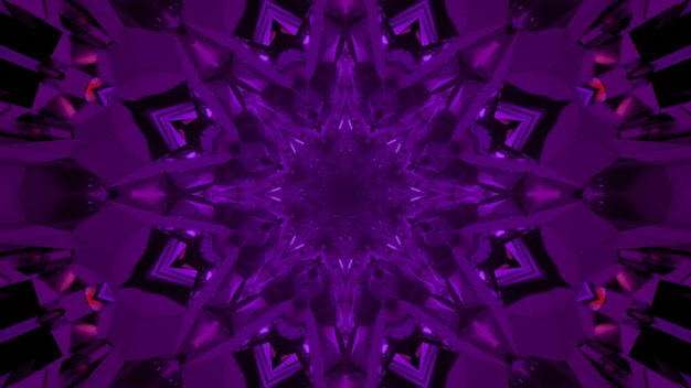 Kaleidoscopic 3d illustration of symmetric flower shaped crystal ornament of dark violet color