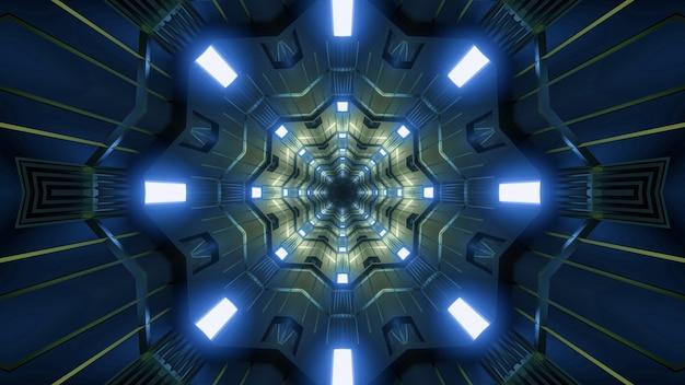 Kaleidoscopic 3d illustration of vivid blue lamps illuminating abstract dark tunnel with yellow ornament