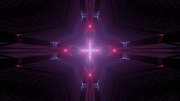 Kaleidoscopic 3d illustration of vivid cross shaped tunnel shining with purple light in darkness