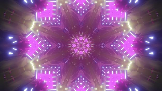 3dイラストとしてピンクとブルーのネオンが幾何学的なパターンを照らして万華鏡のような抽象的な背景