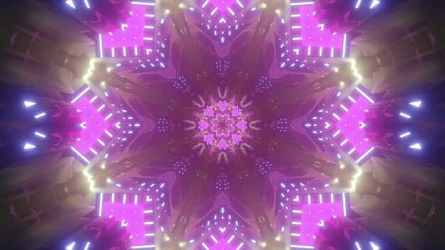 Kaleidoscopic abstract background with pink and blue neon illuminated geometric pattern as 3d illustration