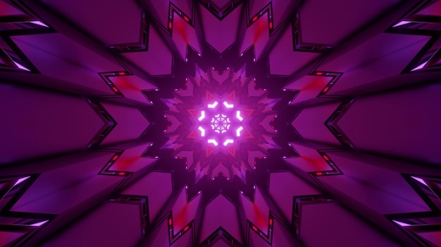 Kaleidoscopic abstract three dimensional illustration of mandala spherical repeating pattern of purple color
