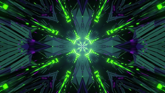 Kaleidoscopic background with colorful neon green illumination of 3d illustration moving in tunnel