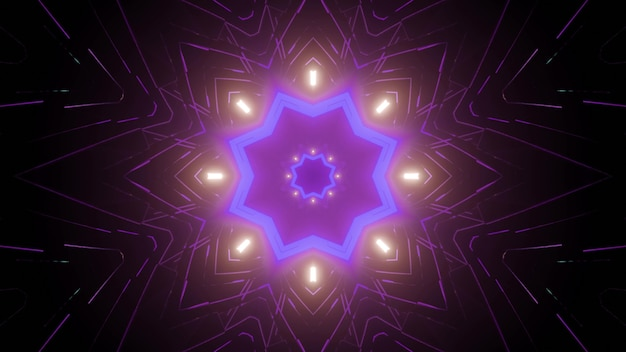 Kaleidoscopic futuristic 3d illustration of symmetric star shaped pattern glowing with neon light in dark