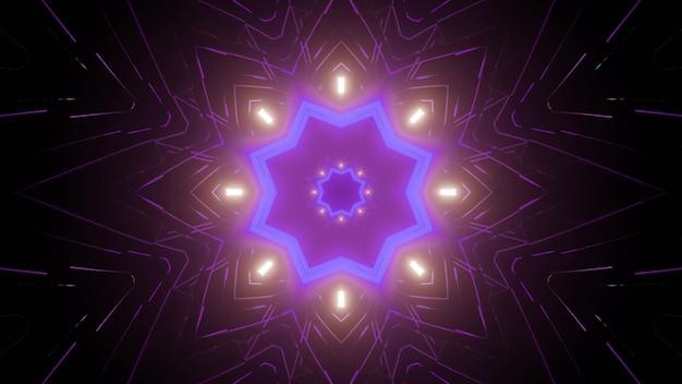 Kaleidoscopic futuristic 3d illustration of symmetric star shaped pattern glowing with neon light in dark