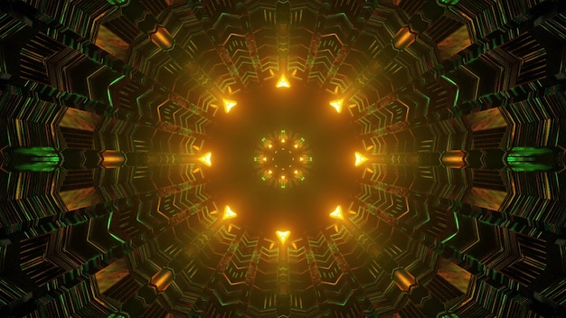 Kaleidoscopic geometric 3d illustration of abstract spherical corridor with uneven walls made of rectangular cells leading to glowing yellow lights