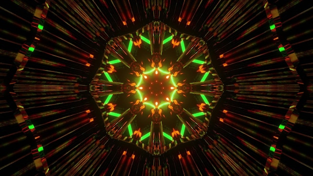 Kaleidoscopic geometrical 3d illustration of illuminating spherical mandala pattern of green and brown colors on black background