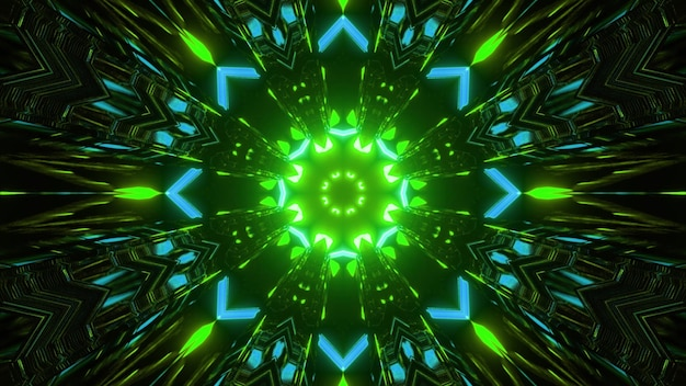 Kaleidoscopic geometrical three dimensional illustration of abstract symmetrical mandala pattern of bright blue and green colors
