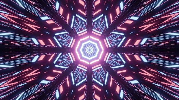 Kaleidoscopic illuminating 3d illustration of geometrical poly angular patterns of bright pink and blue lights on black background
