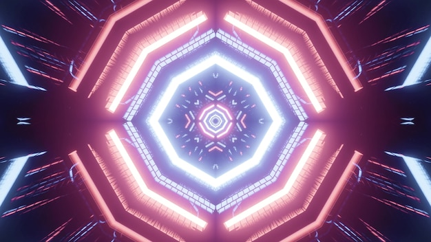 Kaleidoscopic iridescent 3d illustration of abstract fractal spherical corridor formed by bright pink and blue lights