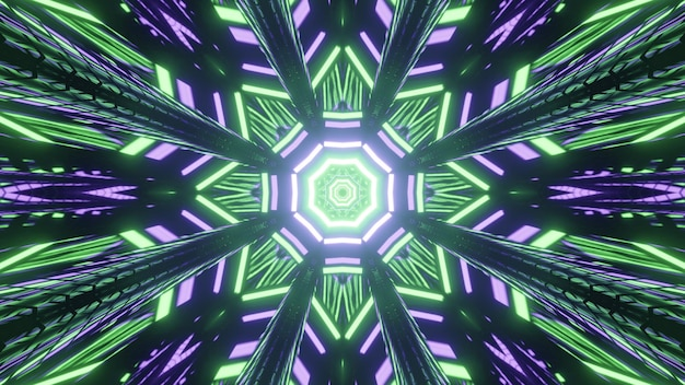 Kaleidoscopic iridescent 3d illustration of poly angular geometric patterns formed by repeating luminous green and blue lights on black background