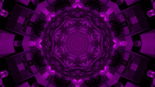 Калейдоскопическая мандала 3d иллюстрация фиолетовых декоративных кругов, образующих сферическую абстракцию на черном фоне